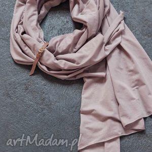 ręcznie zrobione szaliki pudrowy duży szal z bawełny organicznej