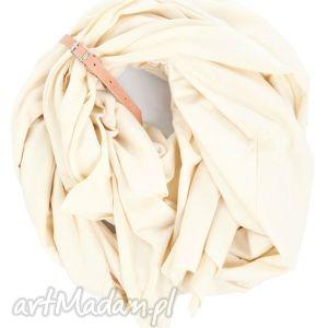 białe szaliki kremowy duży szal z bawełny organicznej