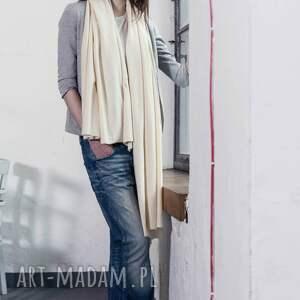 wyraziste szaliki waniliowy duży szal z bawełny organicznej
