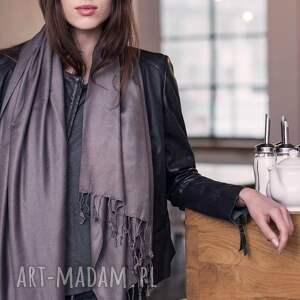szare szaliki elegancki duży wiskozowy szal z frędzlami