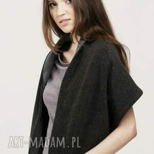 wełniany czarne duży zapinany szalik w elegancką