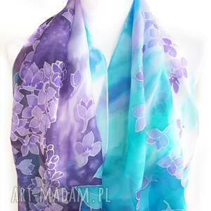 fioletowe szaliki dwukolorowy szal jedwabny bzy