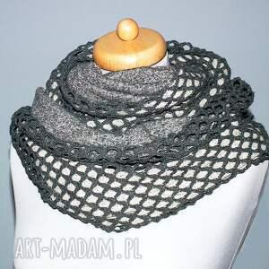 szalik szaliki szare elegancki szal komin uszyty z dwóch rodzajów