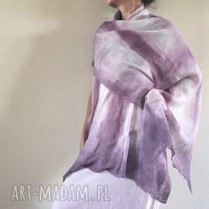 ręcznie wykonane szaliki elegancki lniany liliowy szal