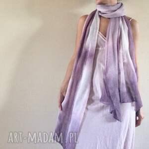 elegancki szaliki fioletowe lniany liliowy szal