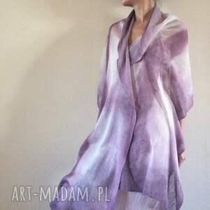 ręcznie wykonane szaliki ślub elegancki lniany liliowy szal