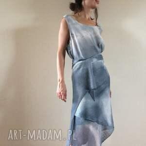 unikalne szaliki dzianina unikatowy ręcznie barwiony szal ze 100% lnu