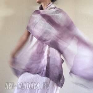białe szaliki szal elegancki lniany liliowy
