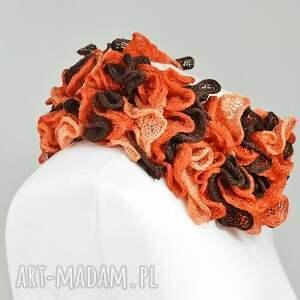 pomarańczowe szaliki apaszka fantazyjny szal - brązy