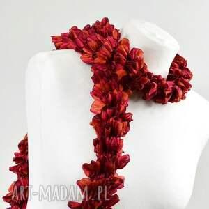 dodatek szaliki fantazyjny szal - malinowo-czerwony