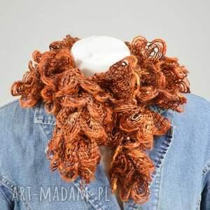 niepowtarzalne szaliki szalik fantazyjny szal - rudy