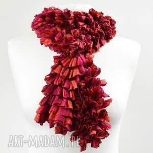 handmade szaliki szalik fantazyjny szal - malinowo-czerwony