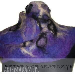 fioletowe szaliki szlik rękodzieło projekt i wykonanie autorskie