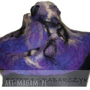 fioletowe szaliki szlik fioletowy filcowy kołnierzyk