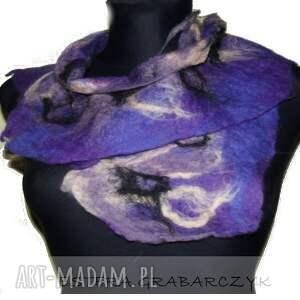 eleganckie szaliki szlik fioletowy filcowy kołnierzyk