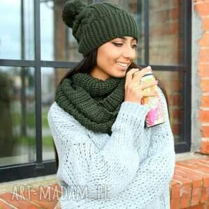 szaliki z pomponem gruby damski komplet zimowy, czapka