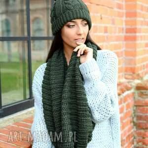 z pomponem szaliki gruby damski komplet zimowy, czapka
