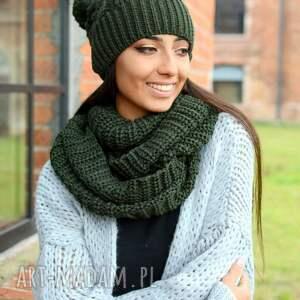 wyraziste szaliki z włóczki gruby damski komplet zimowy, czapka