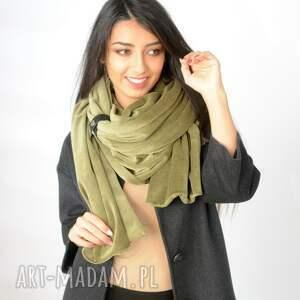handmade szaliki zapinka gruby szal z weluru zielony
