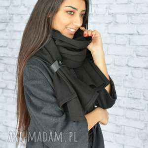 szaliki: gruby szal 250cm! Czarny - Handmade szalik