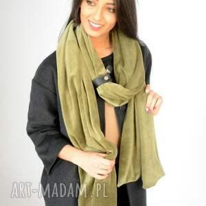 szaliki zapinka ciepły mega duży zielony zimowy szal. wykonany