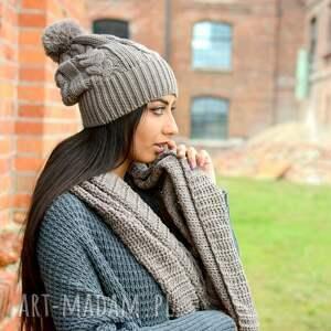 szaliki pleciony gruby zimowy komplet, damska czapka