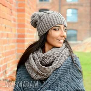 hand made szaliki pleciony gruby zimowy komplet, damska czapka