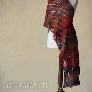 wełna szaliki wielokolorowy ażurowy szal z wełny