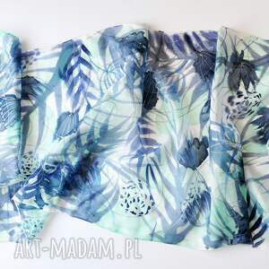 nietypowe szaliki malowany szal jedwabny - turkusy i