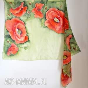 kwiatowy szal szaliki jedwabne malowane pareo - maki na
