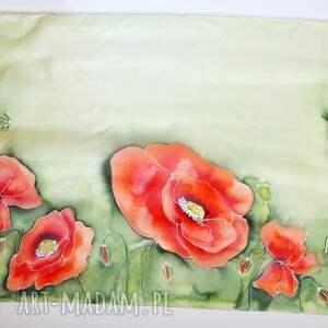 jedwabne pareo czerwone malowane - maki na