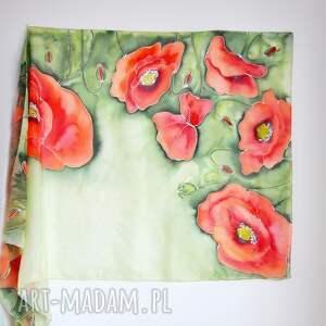 szaliki jedwabne malowane pareo - maki