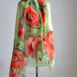 szaliki kwiatowy szal jedwabne malowane pareo - maki na