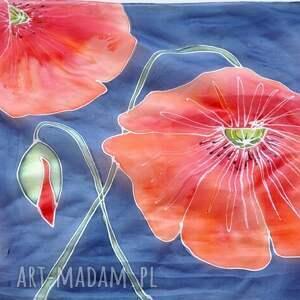 niebieskie szaliki czerwone maki jedwabny malowany szal - na