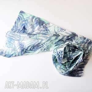 nietypowe szaliki jedwab jedwabny malowany szal - turkusy