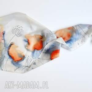 frapujące szaliki jedwab jedwabny malowany szal - niebieski