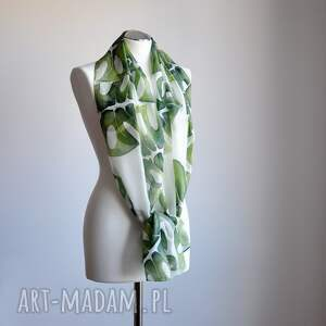 szaliki jedwab jedwabny malowany szal w zielone