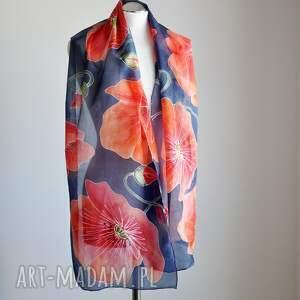 atrakcyjne szaliki makowy szal jedwabny malowany - maki na