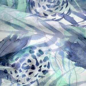 szaliki malowany szal jedwabny - turkusy i
