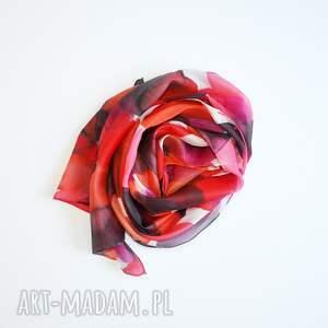 czerwone szaliki jedwab jedwabny malowany szal - odcienie