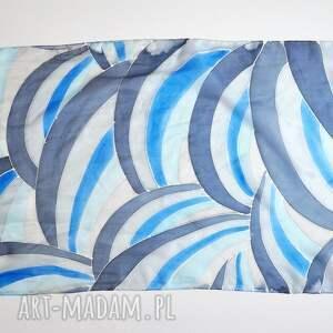 białe szaliki naturalny-jedwab jedwabny malowany szal - graficzne