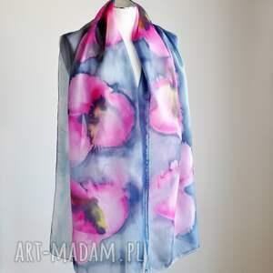 jedwabny-szal szaliki jedwabny malowany szal - różowe
