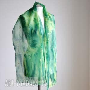 szalik szaliki jedwabny malowany szal - zielona