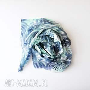 niebieskie szaliki ręcznie malowany jedwabny szal - turkusy i