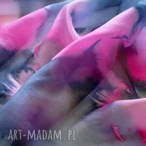 szaliki jedwabny-szal jedwabny malowany szal - różowe
