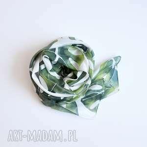 szaliki ręcznie malowany jedwabny szal w zielone