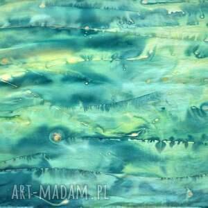 szaliki szalik jedwabny malowany szal - zielona