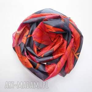 atrakcyjne szaliki jedwabny szal malowany - maki na