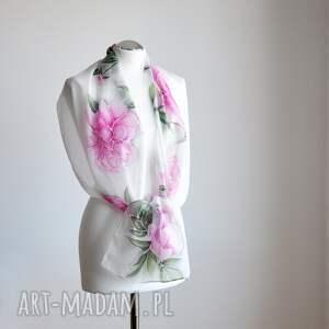 różowe szaliki szal jedwabny malowany - piwonie