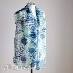 Malowany Jedwab nietypowe szaliki szal jedwabny - turkusy